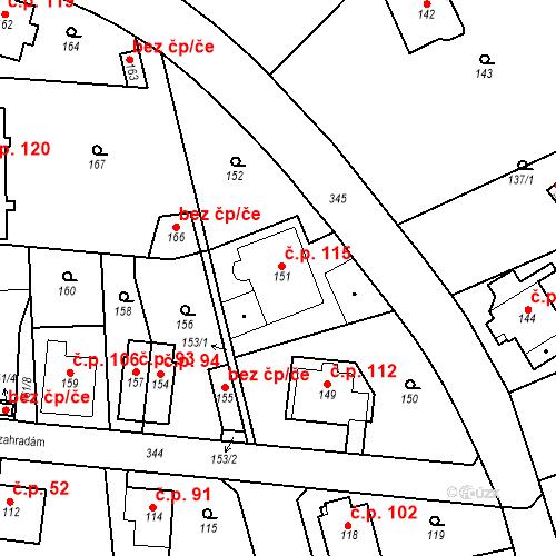 Katastrální mapa Stavební objekt Lahovice 115, Praha
