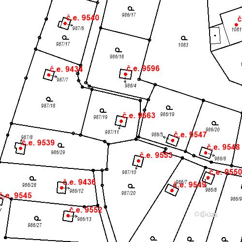 Katastrální mapa Stavební objekt Děčín III-Staré Město 9663, Děčín
