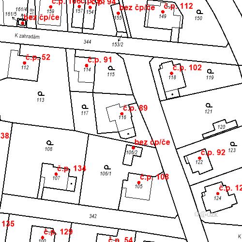 Katastrální mapa Stavební objekt Lahovice 89, Praha