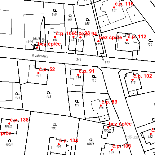 Katastrální mapa Stavební objekt Lahovice 91, Praha