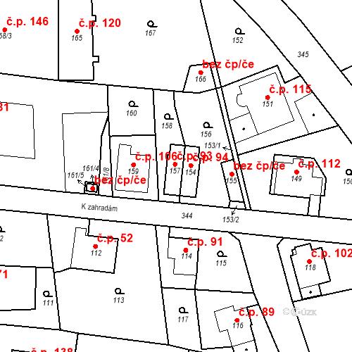 Katastrální mapa Stavební objekt Lahovice 93, Praha