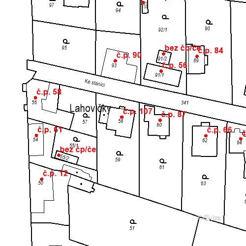 Katastrální mapa Stavební objekt Lahovice 107, Praha