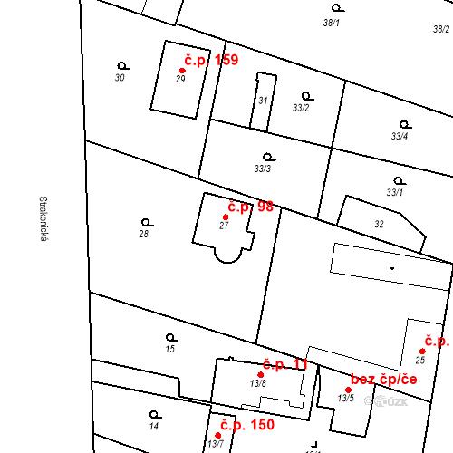 Katastrální mapa Stavební objekt Lahovice 98, Praha
