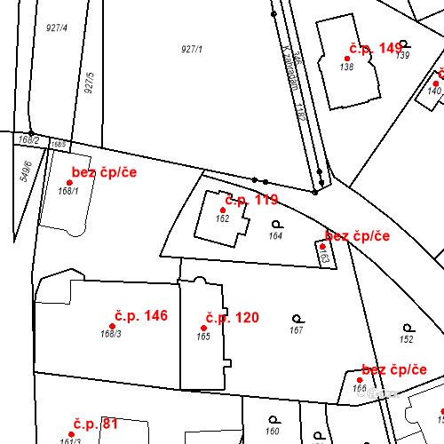 Katastrální mapa Stavební objekt Lahovice 119, Praha