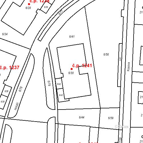 Katastrální mapa Stavební objekt Suchdol 1241, Praha