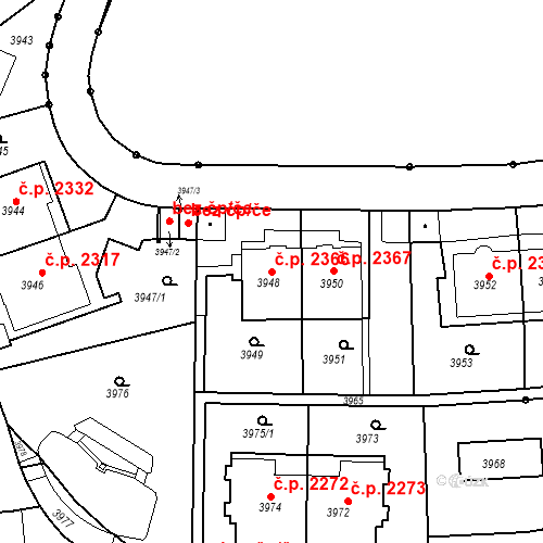 Katastrální mapa Stavební objekt Smíchov 2366, Praha