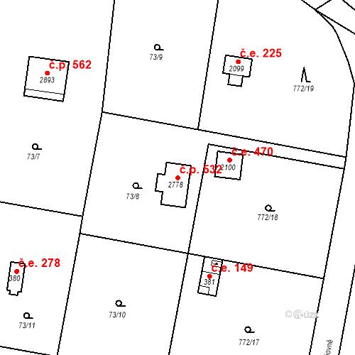 Katastrální mapa Stavební objekt Hradištko 532, Hradištko