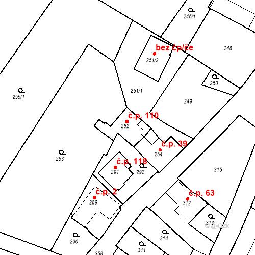 Katastrální mapa Stavební objekt Lahovice 110, Praha