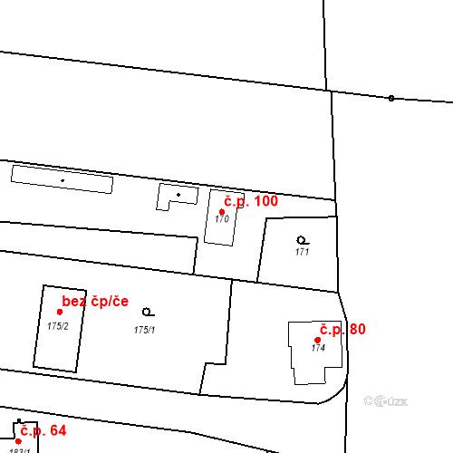 Katastrální mapa Stavební objekt Lahovice 100, Praha