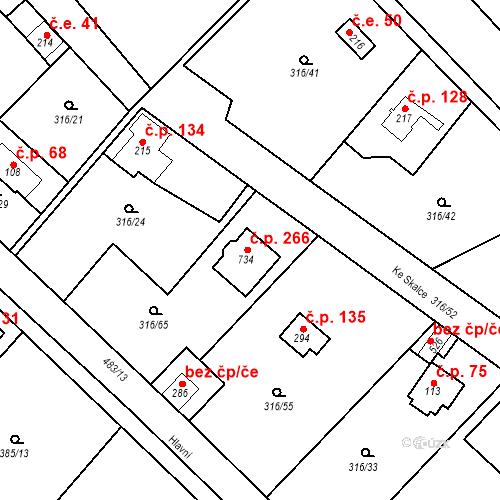 Katastrální mapa Stavební objekt Řež 266, Husinec