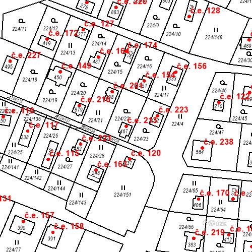 Katastrální mapa Stavební objekt Rabyně 213, Rabyně