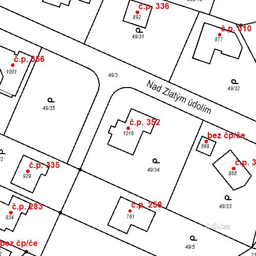 Katastrální mapa Stavební objekt Oleško 352, Březová-Oleško