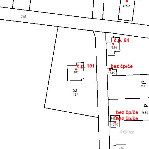 Katastrální mapa Stavební objekt Lahovice 101, Praha