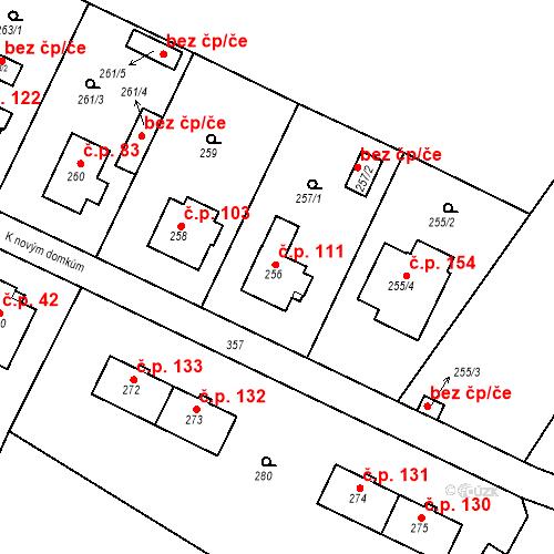 Katastrální mapa Stavební objekt Lahovice 111, Praha