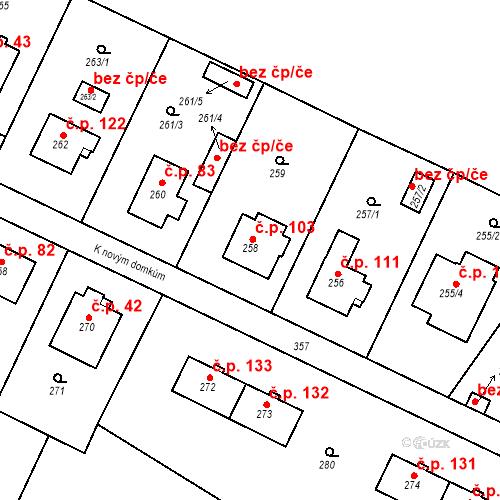 Katastrální mapa Stavební objekt Lahovice 103, Praha