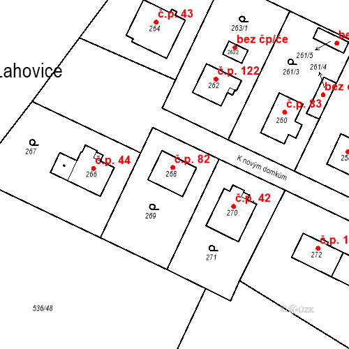 Katastrální mapa Stavební objekt Lahovice 82, Praha