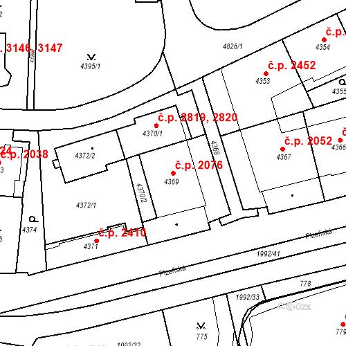 Katastrální mapa Stavební objekt Smíchov 2076, Praha