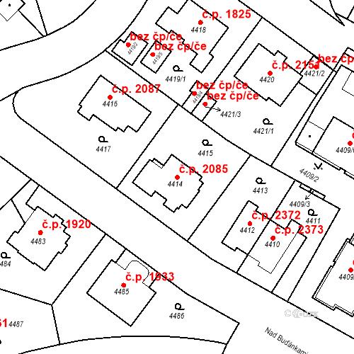 Katastrální mapa Stavební objekt Smíchov 2085, Praha