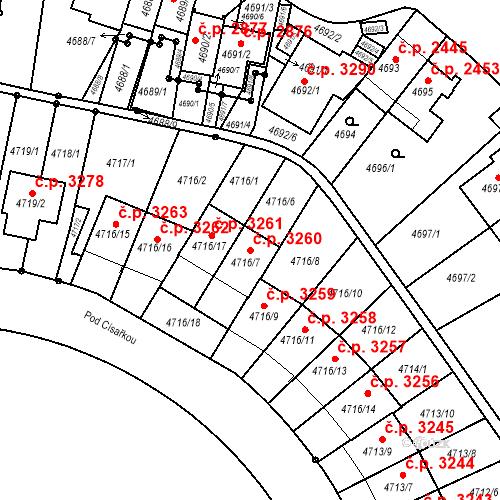 Katastrální mapa Stavební objekt Smíchov 3260, Praha