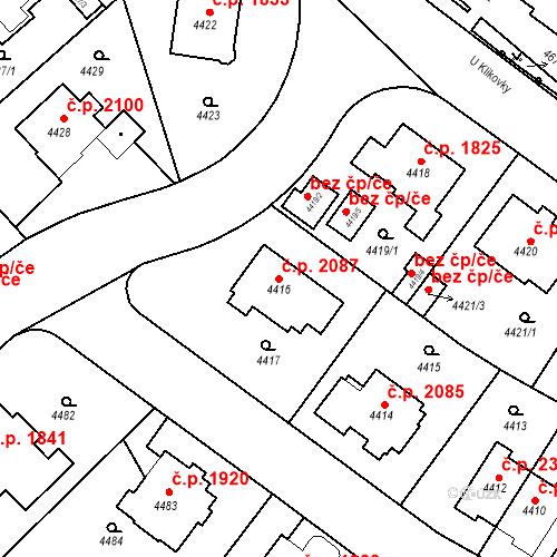 Katastrální mapa Stavební objekt Smíchov 2087, Praha