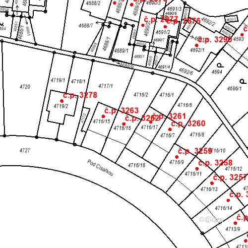 Katastrální mapa Stavební objekt Smíchov 3262, Praha