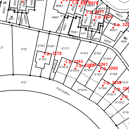 Katastrální mapa Stavební objekt Smíchov 3263, Praha