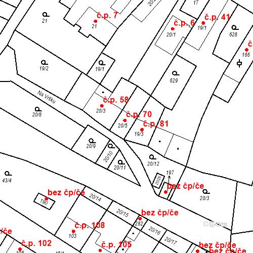 Katastrální mapa Stavební objekt Dobříň 70, Dobříň
