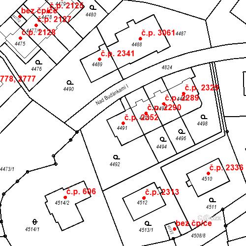 Katastrální mapa Stavební objekt Smíchov 2352, Praha