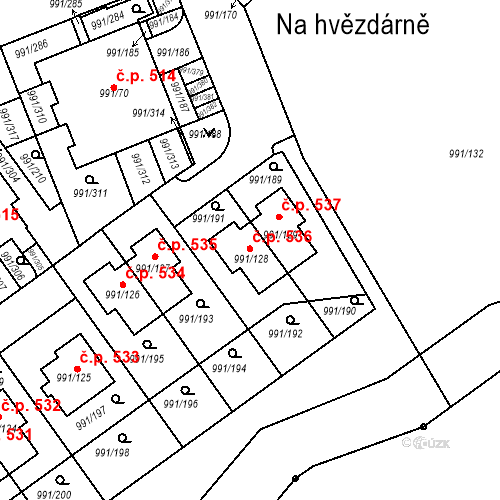 Katastrální mapa Stavební objekt Velká Chuchle 536, Praha