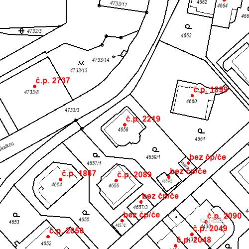 Katastrální mapa Stavební objekt Smíchov 2219, Praha
