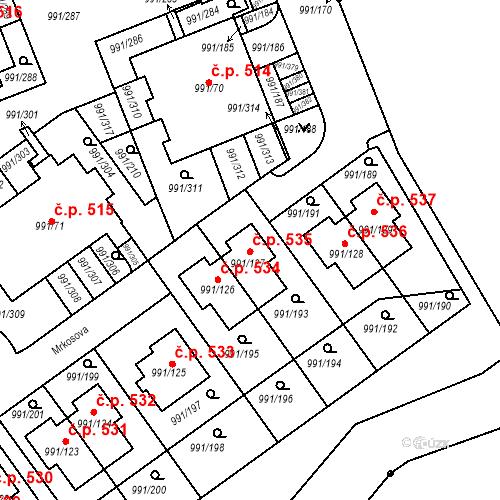 Katastrální mapa Stavební objekt Velká Chuchle 535, Praha