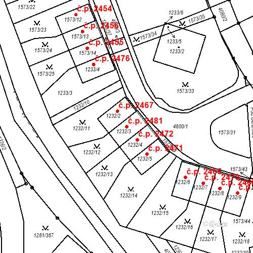 Katastrální mapa Stavební objekt Dejvice 2481, Praha