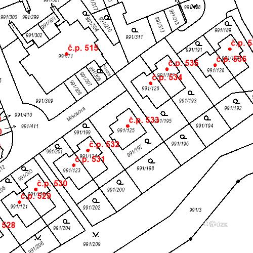 Katastrální mapa Stavební objekt Velká Chuchle 533, Praha