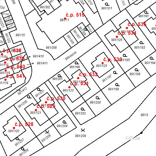Katastrální mapa Stavební objekt Velká Chuchle 532, Praha