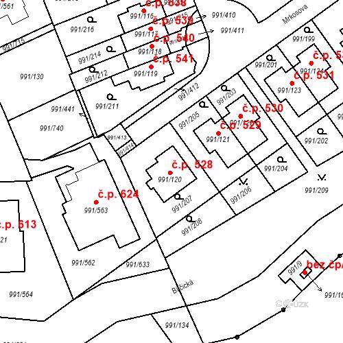 Katastrální mapa Stavební objekt Velká Chuchle 528, Praha