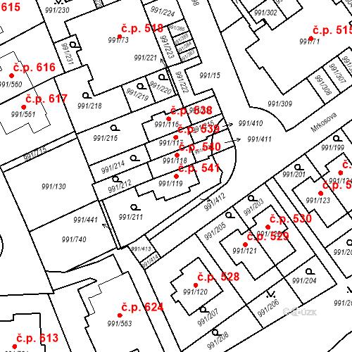 Katastrální mapa Stavební objekt Velká Chuchle 541, Praha