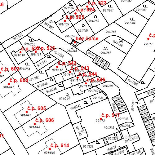 Katastrální mapa Stavební objekt Velká Chuchle 544, Praha