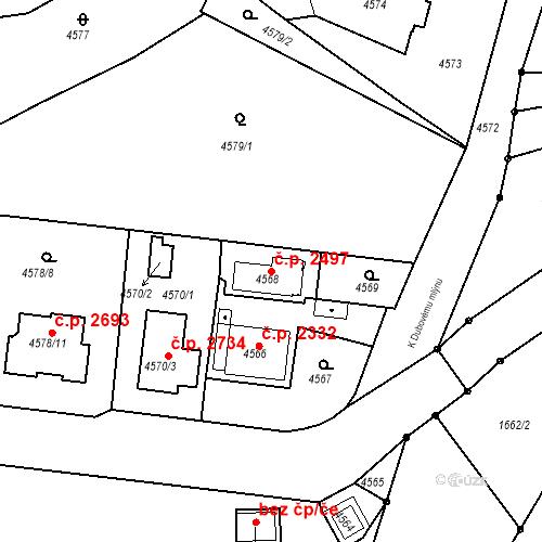 Katastrální mapa Stavební objekt Dejvice 2497, Praha