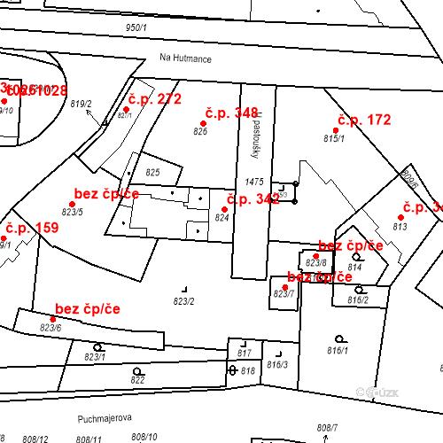 Katastrální mapa Stavební objekt Jinonice 342, Praha