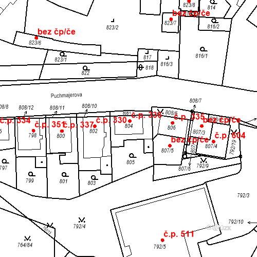 Katastrální mapa Stavební objekt Jinonice 336, Praha