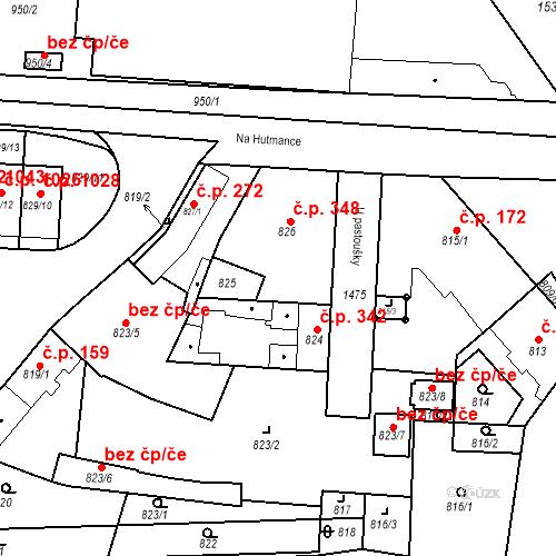 Katastrální mapa Stavební objekt Jinonice 348, Praha