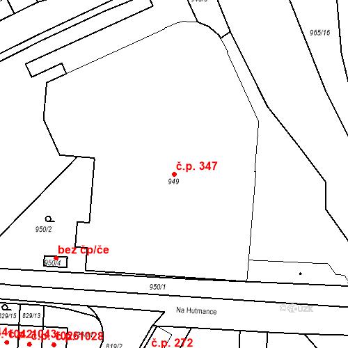 Katastrální mapa Stavební objekt Jinonice 347, Praha