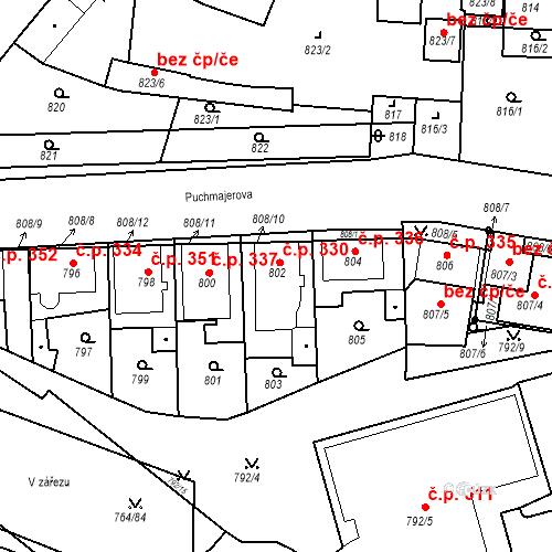 Katastrální mapa Stavební objekt Jinonice 330, Praha