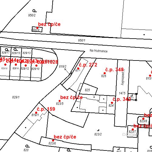 Katastrální mapa Stavební objekt Jinonice 272, Praha