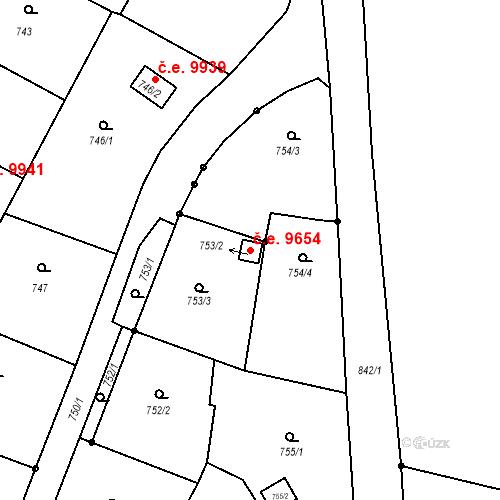 Katastrální mapa Stavební objekt Děčín III-Staré Město 9654, Děčín