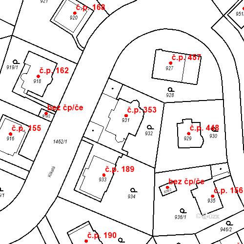 Katastrální mapa Stavební objekt Jinonice 353, Praha