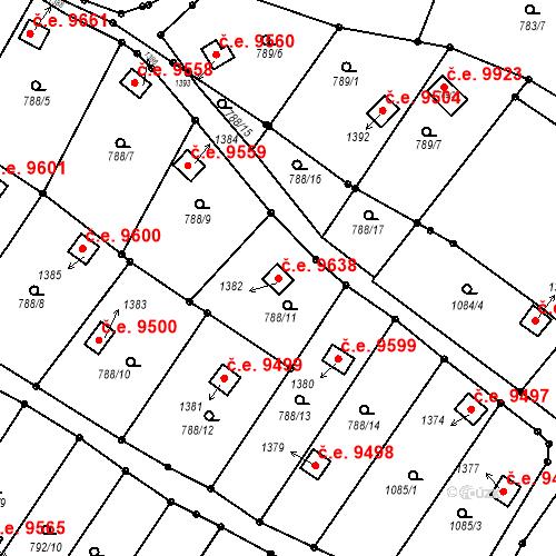 Katastrální mapa Stavební objekt Děčín III-Staré Město 9638, Děčín