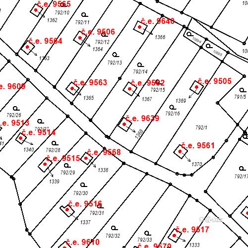 Katastrální mapa Stavební objekt Děčín III-Staré Město 9639, Děčín