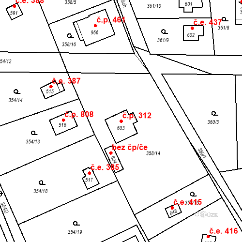 Katastrální mapa Stavební objekt Vrané nad Vltavou 312, Vrané nad Vltavou