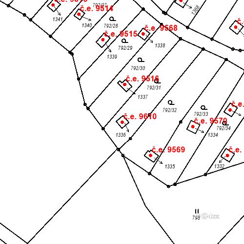 Katastrální mapa Stavební objekt Děčín III-Staré Město 9610, Děčín